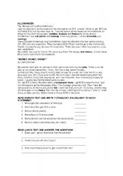 English Worksheets: Allowances