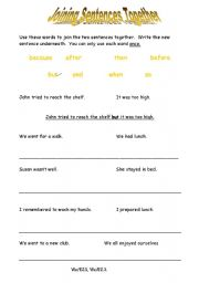 English Worksheets: Joining Sentences Together