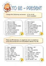 English worksheet: To BE in the Present Simple Tense