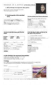 English Worksheet: message in a bottle