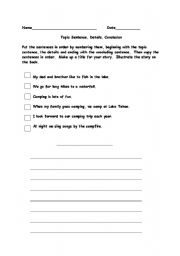 Worksheets: Paragraph Writing, Toipic Sentence, Main Idea, Details ...