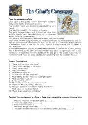 English Worksheets: The giant�s Causeway