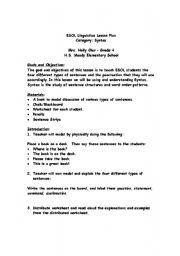 English Worksheet: ESOL Linguistics Lesson Plan: Syntax