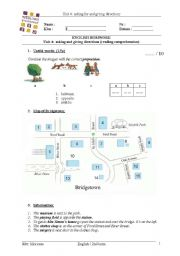 English worksheet: giving directions - prepositions
