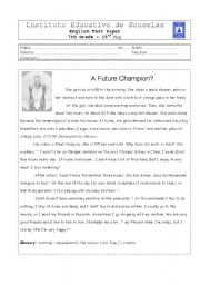 English Worksheets:  A Champion�s Daily rOUTINE