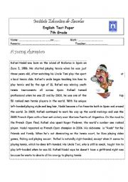 English Worksheets: Rafael Nadal - A short Biography