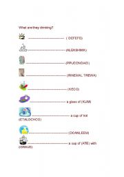 English Worksheets: WHAT ARE THEY DRINKING?