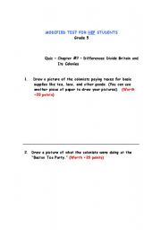 English Worksheets: Social Studies - NEP Students - Differences Divide Britain and Its Colonies