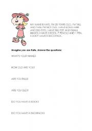 English Worksheets: Kate