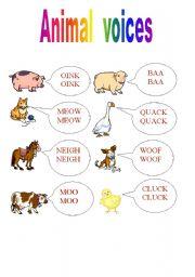 English Worksheets: Animal english voices