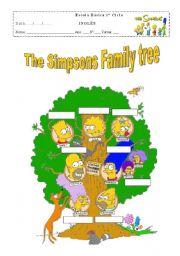 English Worksheet: The simpson family tree blank