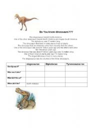 English Worksheets: Do you know dinossaurs???