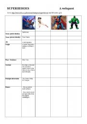 English Worksheet: SUPERHEROES WEBQUEST