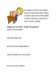 English Worksheets: Peter