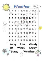 English Worksheet: weather wordsearch