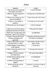 English Worksheets: jokes (question-answer)