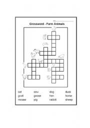 English Worksheets: Farm Animals Picture Crossword
