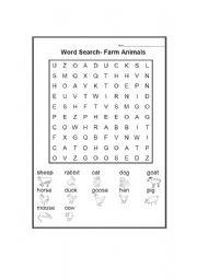 English Worksheets: Farm Animals Word Search