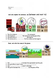 English Worksheets: Between and Next to
