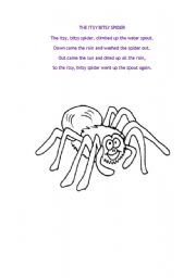 English Worksheet: The Itsy Bitsy Spider Song