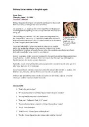 English Worksheet: Britney Spears News
