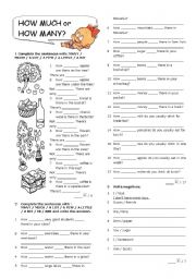 English Worksheet: How much or how many?