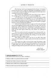 English Worksheets: Letters to the editor