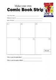 English worksheets make your own comic book strip for Make your own comic strip template