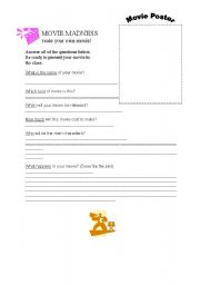 English Worksheets: Movie Madness: Create Your Own Movie!