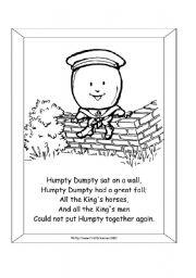 Reading worksheets > Nursery Rhymes > Humpty Dumpty