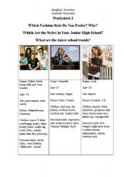 English Worksheet: fashion and style, clothes, the way we look