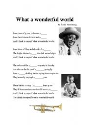 English Worksheets: Word Gap - What a Wonderful World