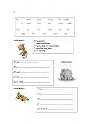 English Worksheet: Animal descriptions using It´s, Its got and It can