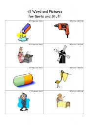 English Worksheets: ill words and pictures
