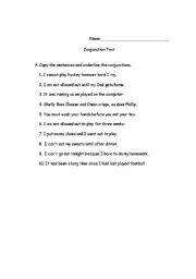 English Worksheets: Conjunction Test