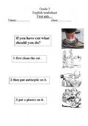 English Worksheet: first aid