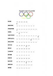Vocabulary worksheets > Sports > Olympic games > Olympics Word ...