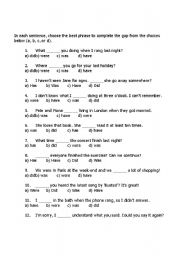 English Worksheets: choose the best answer