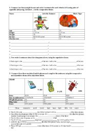 English Worksheet: comparing people and objects