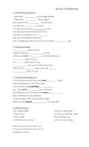 English Worksheets: I�ll be there for you - Bon JOvi