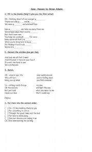 English Worksheet: Heaven - Bryan Adams