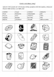 FOOD VOCABULARY - ESL worksheet by brolman02
