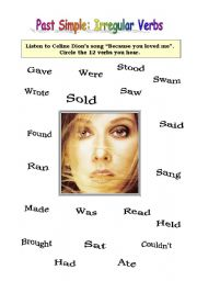 English Worksheet: SONG WORKSHEET (BECAUSE YOU LOVED ME BY CELINE DION)