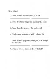 English Worksheets: Room Quest