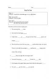 english worksheets to too two worksheet. Black Bedroom Furniture Sets. Home Design Ideas