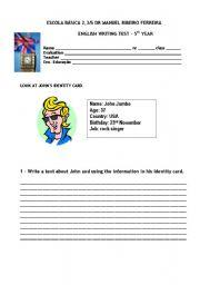 English Worksheets: Writing mini test