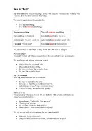 English Worksheet: SAY or TELL