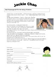 English Worksheets: Jackie Chan - biography