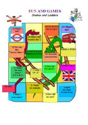 English Worksheet: SNAKES AND LADDERS (Game Board)