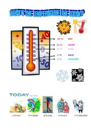 English Worksheet: WHAT�S THE TEMPERATURE LIKE TODAY?